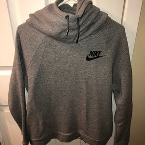 gray nike hoodie with neck scrunch